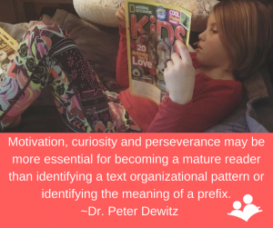 Dr. Peter Dewitz listing the essential qualities for becoming a mature reader
