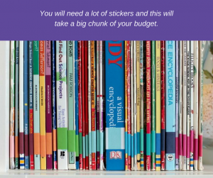 An organized book collection with colored stickers