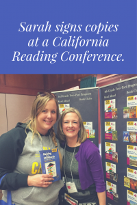 Sarah Collinge signs copies at a California Reading Conference
