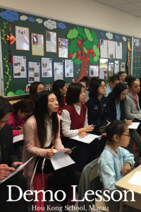 Demo lesson with students in classroom at Hou Kong Premier School