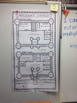 diagram of William's Castle in classroom