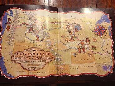 hand drawn map of the route of lewis and clark across United States